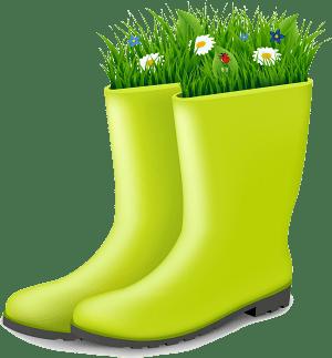 зелени гумени ботуши с трева и цветя
